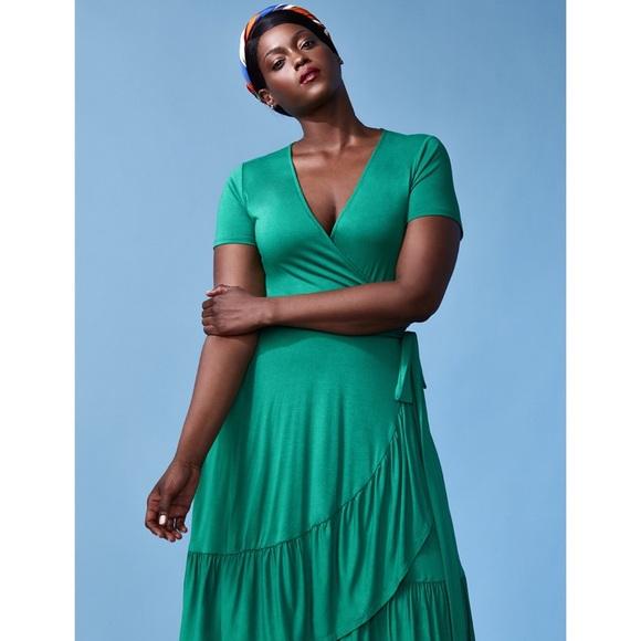 7845421e86c ELOQUII Ruffle Hem Wrap Dress Green Plus Size